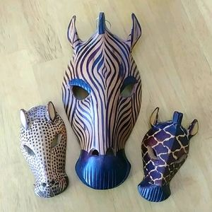 3pc set of Wooden Zebra Art